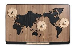 Large World Map Wooden Wall Clock DIY Puzzle Home Decor Interior Gift - Brown