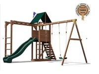 Dunster House Monkey Fort Play Equipment, slide, swings & monkey bars
