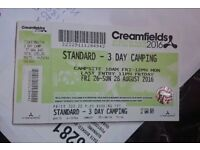 Creamfields 3 day camping ticket