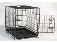 Large black metal dog crate