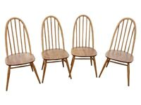 Set of 4 Vintage Ercol Quaker Dining Chairs (Elm)