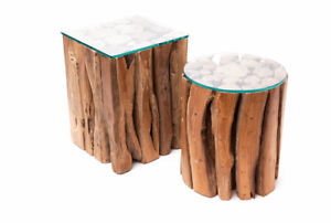 Teak Clustered Log Side Tables