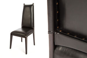 Leather + Teak Wood Dining Chair