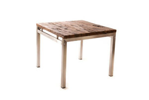 Salvaged Wood + Stainless Steel Dining Table - Small
