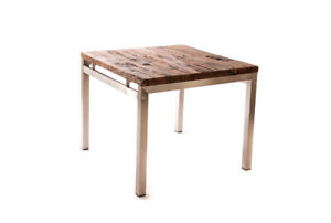 Salvaged Wood + Stainless Steel Dining Table