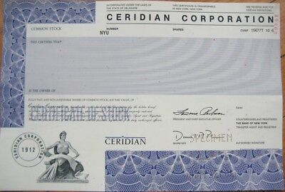 Specimen Stock Certificate   Ceridian   Human Resources
