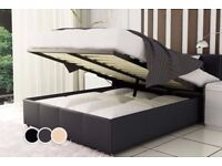 KING SIZE BED OR DOUBLE LIFT UP STORAGE LEATHER BED WITH SEMI ORTHOPAEDIC MATTRESS