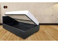 Single Bed Frame - Ottoman Under Storage Bed - Black - Side Opening