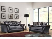 Sale sale NEW LARGE FARROW SHANNON SOFA CORNER 5 SEATER GREY BLACK FABRIC & LEATHER COUCH
