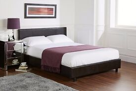 💥Black & Brown💥Italian Faux Leather Brand New Double King Leather Bed 9 Semi Orthopedic Mattress