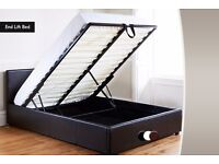 DELIVERY == SMALL DOUBLE == DOUBLE FAUX LEATHER OTTOMAN STORAGE BED FRAME BLACK OR BROWN