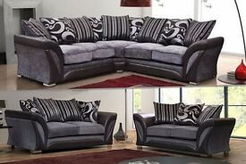 New Shannon Corner Sofa or 3+2 seater, armchair grey/black or beige/brown chanille