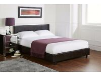 FREE DELIVERY === BLACK OR BROWN SINGLE PU LEATHER BED FRAM AND MATTRESS DOUBLE/KING SIZE