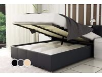 🌷💚🌷 BRAND NEW 🌷💚🌷 DOUBLE LEATHER STORAGE OTTOMAN GAS LIFT UP BED FRAME ON SPECIAL OFFER