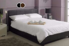 BRAND NEW DOUBLE LEATHER BED AND LIGHT QUILT MATTRESS - EXPRESS DELIVERY