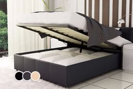 PREMIUM QUALITY DOUBLE LEATHER STORAGE BED FRAME WITH OTTOMAN GAS LIFT UP WITH MEMORY FOAM MATTRESS