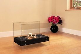 glass and steel bio-ethanol fire new
