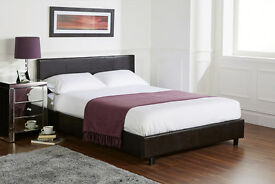 **100% GUARANTEED PRICE!** Brand New Kingsize Leather Bed W/ Crown Orthopaedic 12inch Thick Mattress