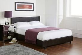 order now new double leather bed base with economy and orthopedic mattess and plain headboard