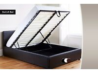 SAME DAY DELIVERY: BRAND NEW DOUBLE OTTOMAN GAS LIFT STORAGE LEATHER BED BLACK/BROWN WITH MATTRESS