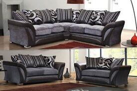 BRAND NEW - Large Italian Style SHANNON LARGE Corner OR 3+2 SEATER Sofa +14 DAYS CASH BACK GUARANTY