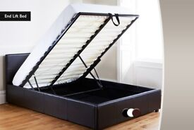BEST PRICE GUARANTEED! NEW DOUBLE STORAGE LEATHER BED IN BLACK / BROWN AND MEMORY FOAM MATTRESS