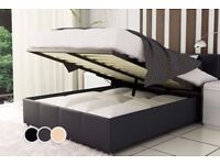 STYLISH BEST QUALITY BRAND NEW FULLY GUARANTEED DOUBLE OR KING SIZE LEATHER GAS LIFTED STORAGE BED