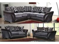 🔰 50 % OFF🔰SHANNON CORNER OR 3 AND 2 SEATER SOFA in LEATHER & CHENILLE FABRIC, BLACK or BROWN