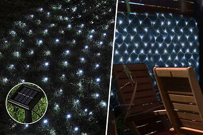 120 Solar LED Net Light Outdoor White Sun Powered Garden Summer BBQ Party String