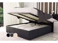 BEST SELLING BRAND! BRAND NEW DOUBLE OR KING LEATHER STORAGE BED WITH MEMORY FOAM ORTHO MATTRESS