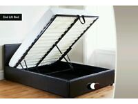 LARGE DOUBLE LEATHER STORAGE BED FRAME WITH OTTOMAN GAS LIFT UP
