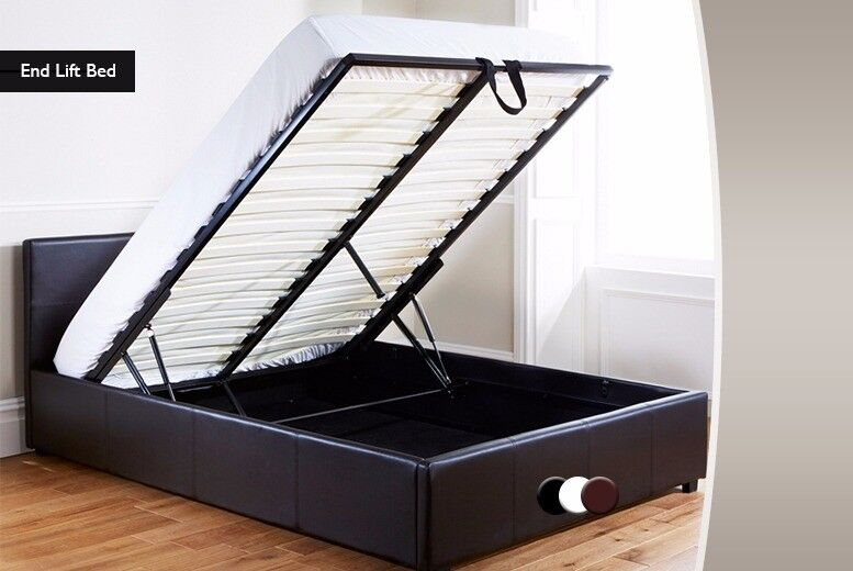 EXPRESS SAME DAY DELIVERY! DOUBLE LEATHER STORAGE GAS LIFT UP BED WITH WIDE RANGE OF MATTRESSES