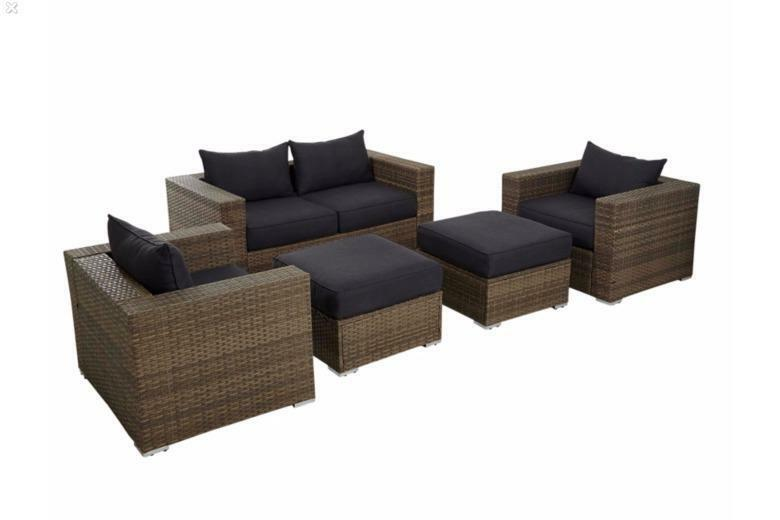 'Borneo' 5-piece Outdoor Rattan Garden Sofa Set