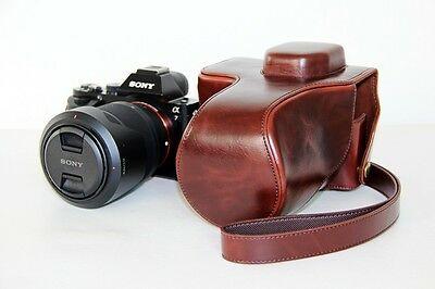 Coffee camera leather case bag for Sony alpha a7 II, A7RII, a7R...