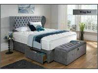 Crush velvet or chenille Wing bed on sale JA