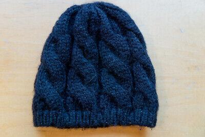 EUC black cabled knit hat beanie cap 100% acrylic