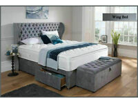 Crush velvet or chenille Wing bed on sale y