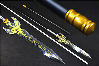 211cm Chinese Kung Fu lance Sword Manganese Steel Spearhead Sharp Spear Jian