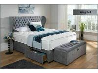 Crush velvet or chenille Wing bed on sale Lk