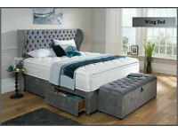Crush velvet or chenille Wing bed on sale t