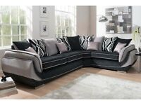 Large grey & silver corner sofa