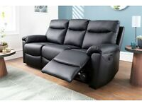 GENUINE BLACK LEATHER THERE AND TWO SEATER RECLINER SOFA 3 plus 2 BRAND NEW