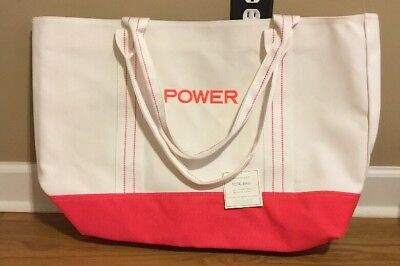 """NEW Pottery Barn Kids EXTRA LARGE Family Travel Tote NEON CORAL Monogram """"POWER"""""""