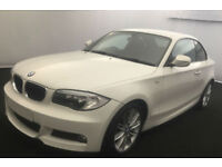 White BMW 120d M Sport Coupe Black Leather 2012 FROM £45 PER WEEK!