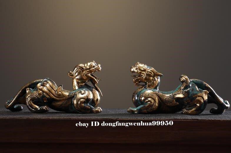 Chinese Porcelain Handwork Feng Shui Animal Brave Troops Beast Statue Pair