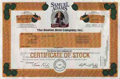 BOSTON BEER Company 2000 Samuel Adams Boston Lager Bier Historische Wertpapiere