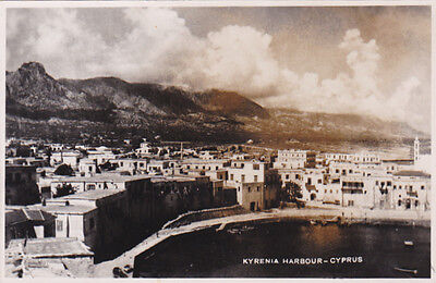 CYPRUS POSTCARD PANORAMA OF KYRENIA HARBOUR EARLY PHOTOGRAPHIC
