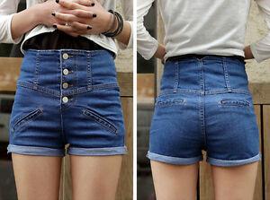 Girl-Denim-High-Waist-Shorts-Jeans-Pants-Vintage-Cuffed-Jeans-Womens-Fashion