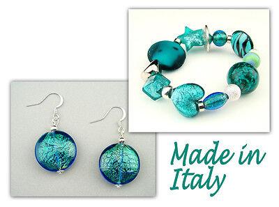 Authentic Italian Made Venetian Murano Glass Jewelry Set: Bracelet & Earrings Italian Set Earrings