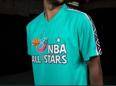 Authentic Mitchell & Ness Teal 1996 NBA East All-Star Mesh V-neck Jersey